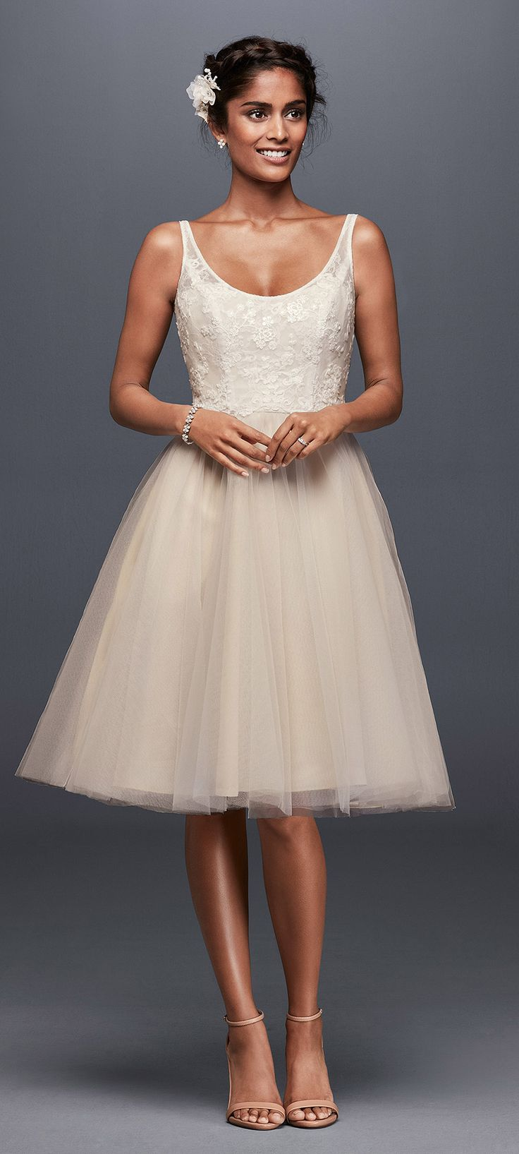 Tulle and Embroidered Lace Short Wedding Dress | David's Bridal Spring 2017 @davidsbridal #davidsbridal #galina #ad #wedding #bridal #shortweddingdress