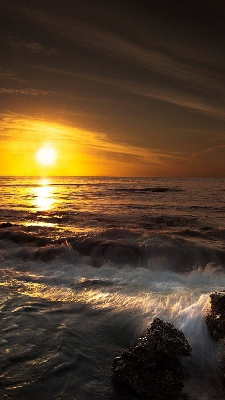Coastal waves sunrise android phone wallpaper - Pretty backgrounds for phones ...