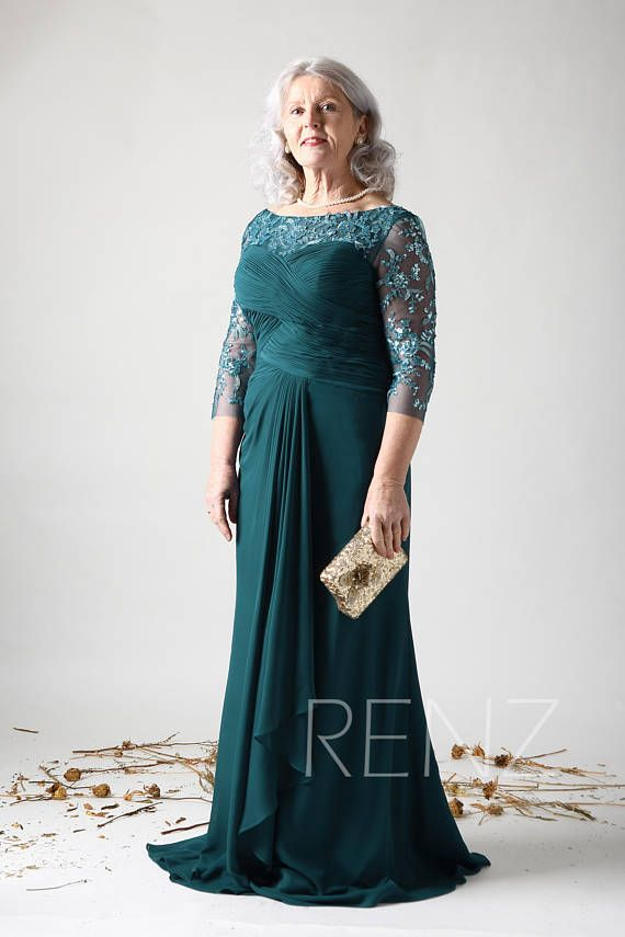 3fa81f38441 Forest Green Mother of the Bride Formal DressIllusion Long