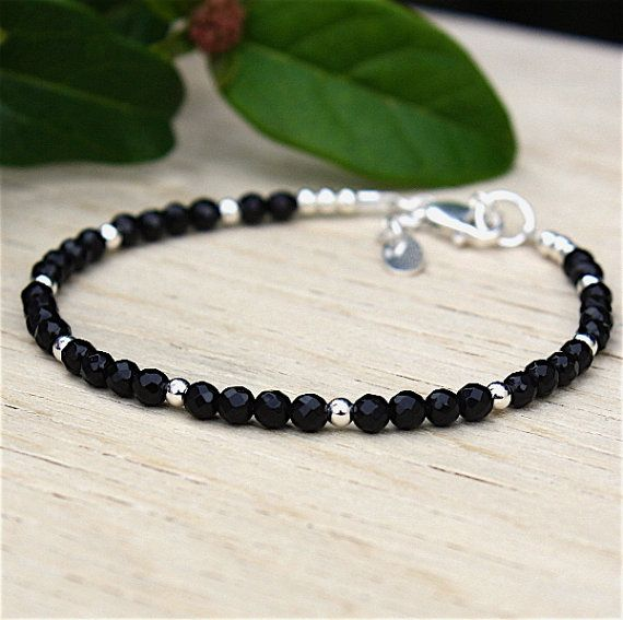 superb solid silver pearls and faceted black agate gems stones
