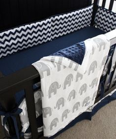 Custom Baby Boy Crib Bedding Navy Blue Chevron And Grey Elephant