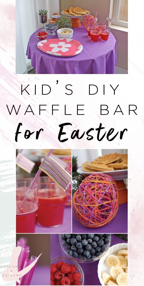 Set up an easy waffle buffet for Easter brunch! Your kids will love this idea! #easterbrunch #easter #cupcakesandcutlery #brunchideas #breakfast