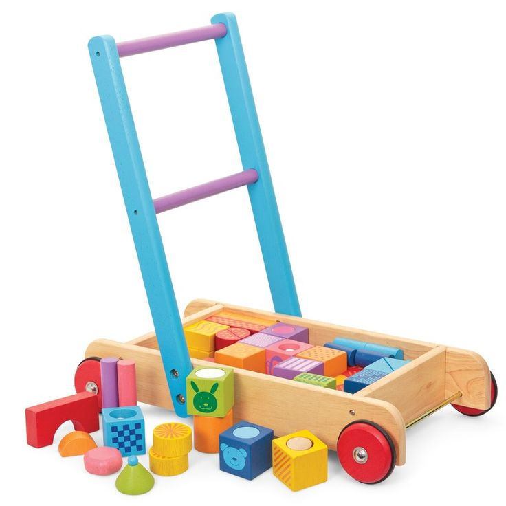 Classic baby walker filled with patterned blocks. This is great for building, sparking imagination, keeping active and generally having fun!