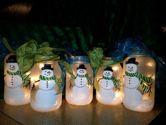 Lighted Frosted Hand Painted Snowman Jar