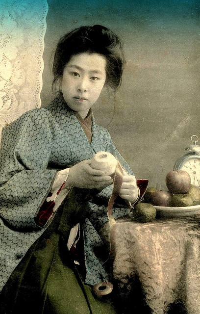 PEELING AN APPLE.  Okinawa Soba, via Flickr.  From a ca.1905-10 Hand-colored Postcard.