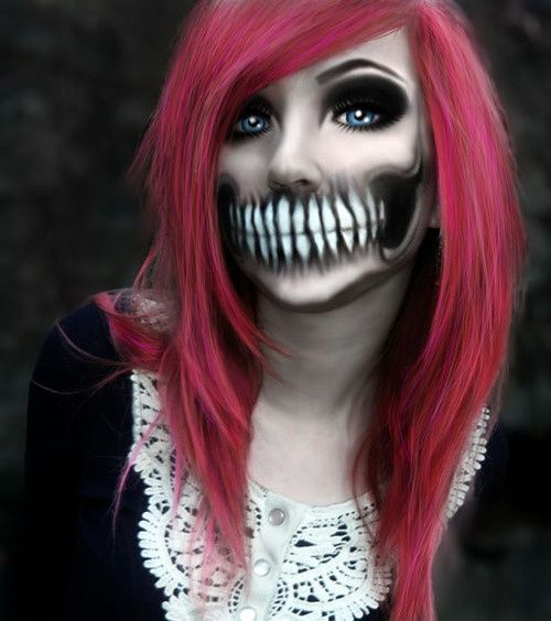 day of the dead makeup... this one will definitely make the neighborhood kids pee their pants:)
