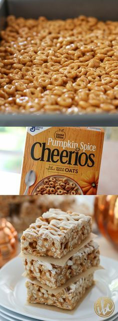 Butterscotch Pumpkin Cheerio Treat Bars - easy fall snack treat idea! #pumpkin #cheerios #pumpkinspice #dessert #recipe #snack