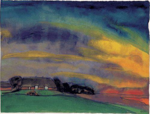Emil Nolde, Bauernhof in Marschlandschaft (Farmhouse in Marsh Landscape), ca.1914, Watercolor, 35.2 x 46.5 cm, ©