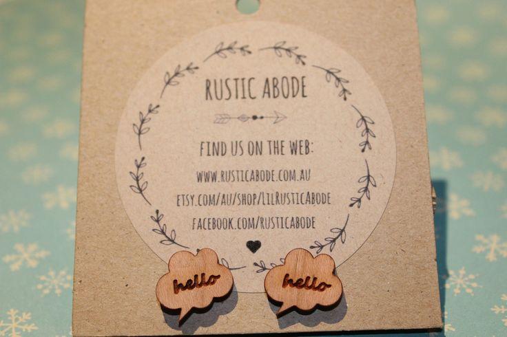 Handmade Wooden Laser Cut Stud Earrings ~ Hello Speech Bubble