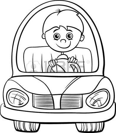 page boy: Bianco e nero fumetto illustrazione di carino ragazzo in Toy Electric Car per Coloring Book