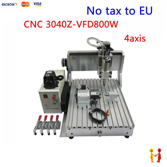 No tax to Europe! 3d cnc wood carving router 4axis CNC 3040 Z-VFD 800W  assembled & tested well cnc milling machine for sale