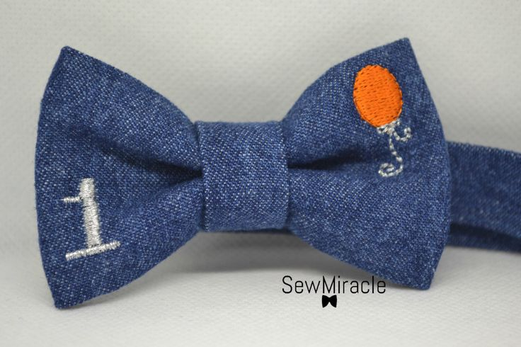 Denim Bow tie, Baby bow tie, Toddler bow tie, Birthday boy, Personalized, Bow tie, Gift for boy, Handmade, Birthday Baloon, First birthday by SewMiracle on Etsy https://www.etsy.com/uk/listing/471198642/denim-bow-tie-baby-bow-tie-toddler-bow