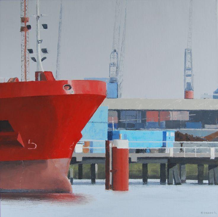 Red ship (90 x 90 cm) by Gineke Zikken