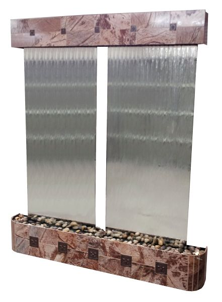 Victorian glass water wall.  Made out of Cafe Marble with decorative fluer de lis inserts.  Dual mirror fountains in one.
