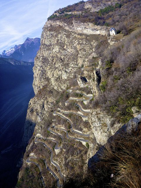 So you think you can climb? Lacets de Montvernier (The Hairpins of Montvernier), part of the Col du Chaussy, France. It's a 1,000m ascent. More: http://www.cycling-challenge.com/col-de-la-madeleine-via-col-du-chaussy/
