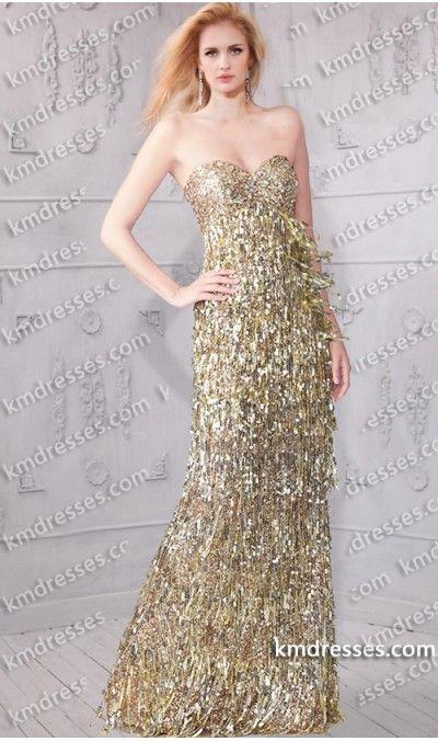 Breathtaking Beaded Strapless Sweetheart Sequin Fringe Floor Length Dress