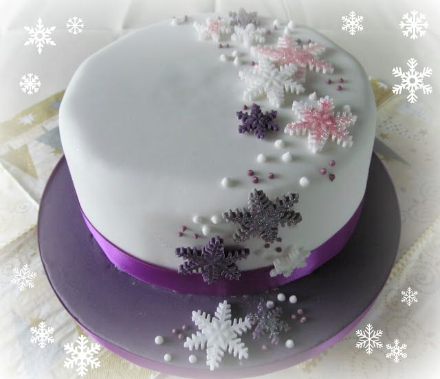 Purple snowflake cake
