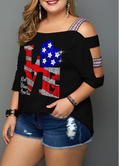 Star Print Cutout Sleeve Plus Size Blouse | Rotita.com - USD $29.54 13