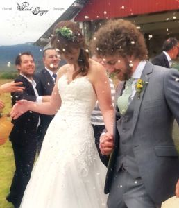 Bride with her succulent flower crown.