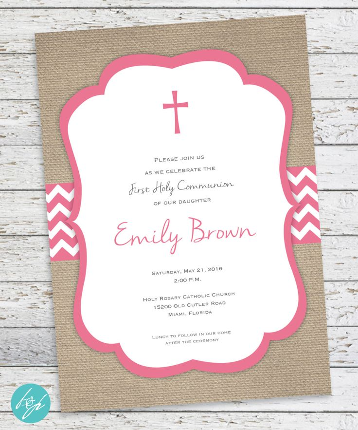 First Communion Invitation - Holy Communion  - First Eucharist - Baptism - Confirmation Burlap Invitation PRINTABLE FILE by FlairandPaper on Etsy