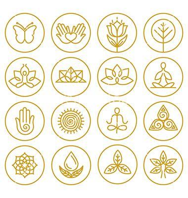 Yoga icons vector lotus nature logos – by venimo o…