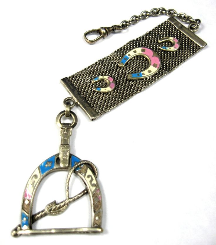 Edwardian Equestrian Theme Sterling Silver Pocket Watch Fob Blue Pink Enamel Horse Racing