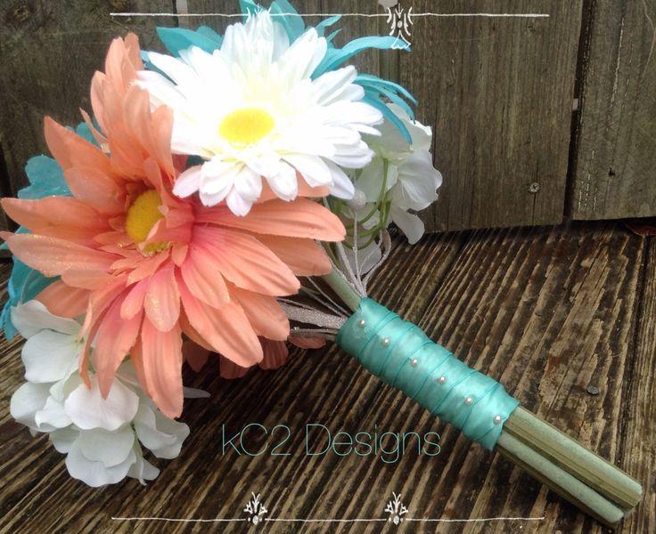 Silk flower wedding bouquet. Silk bouquet. YOUR COLORS. Teal wedding. coral…