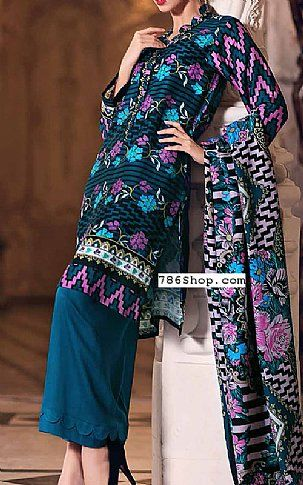 Teal Marina Suit | Buy Gul Ahmed Pakistani Dresses and Clothing online in USA, UK