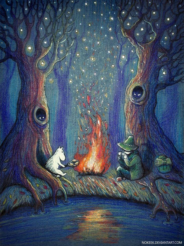 illustration, муми-тролли, снусмумрик, туве янссон, сказка, волшебство, иллюстрация, костер, ночь, звезды