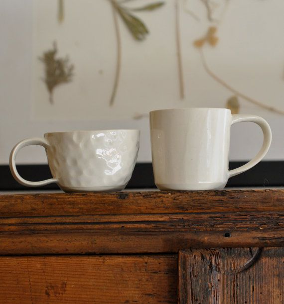 Set of 2 Porcelain Cups by covetandginger on Etsy, $15.00