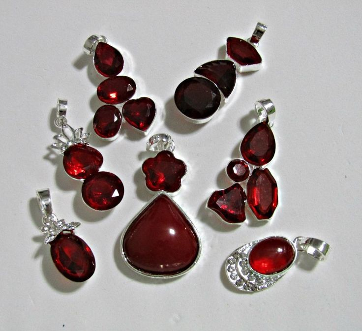 7 TwoTone RED Pendants~All Acrylic Plastic Stones Set in Silvertone Metal