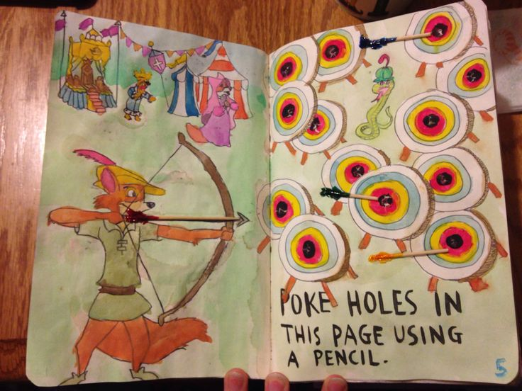 "My own personal WTJ ""poke holes in this page"". Wreck this journal, Robin Hood"