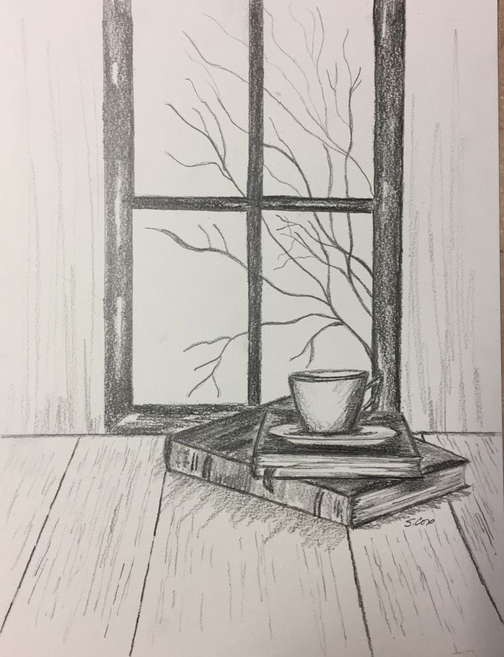 оставшееся рисунки карандашом на окне увидите