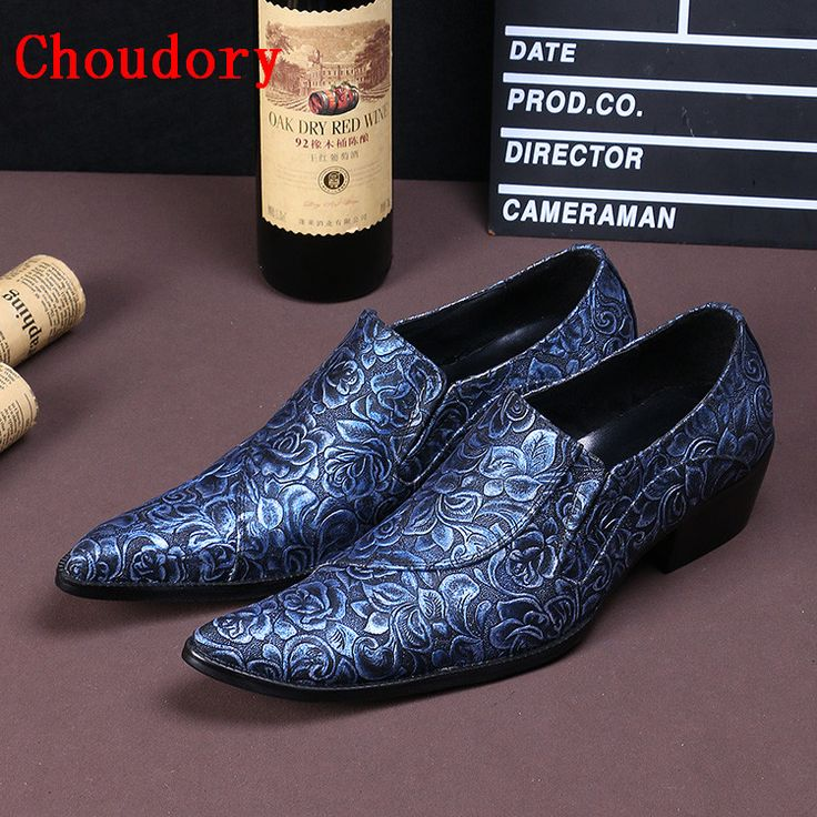 Choudory 2017 New Hot Sale Fashion Man Genuine Leather Blue Wedding Shoes British Flats Floral Print Men Loafers Dress Shoes