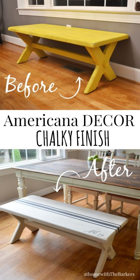 DecoArt-Grain Sack Bench Makeover-Before and After #chalkyfinish #decoartprojects