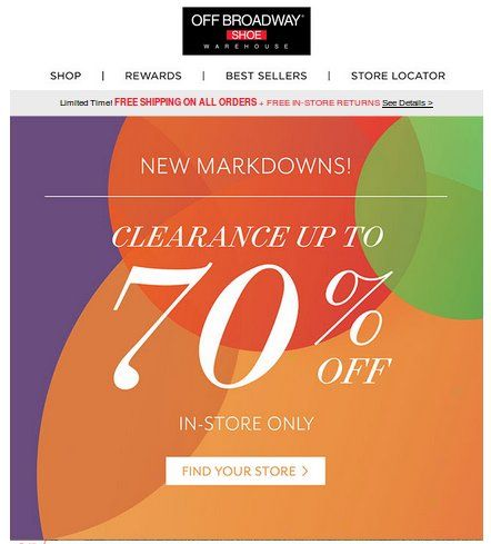 In-Store : Clearance up to 70% #off.  Store : #OffBroadwayShoes Scope : Entire Store For Limited Time  Get more deals : http://www.geoqpons.com/printable-coupons  Get our Android mobile App:  https://play.google.com/store/apps/details?id=com.mm.views  Get our iOS mobile App: https://itunes.apple.com/us/app/geoqpons-local-coupons-discounts/id397729759?mt=8