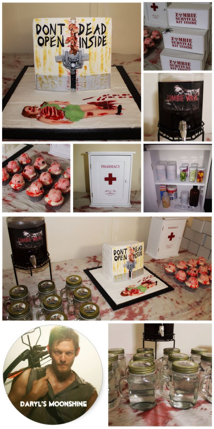 The Walking Dead Party, with themed cake, Zombie Virus cocktail, Moonshine, brain cupcakes, pharmacy with lolly medicines, and emergency zombie ration boxes- filled with water, snacks  a zombie survival tip sheet