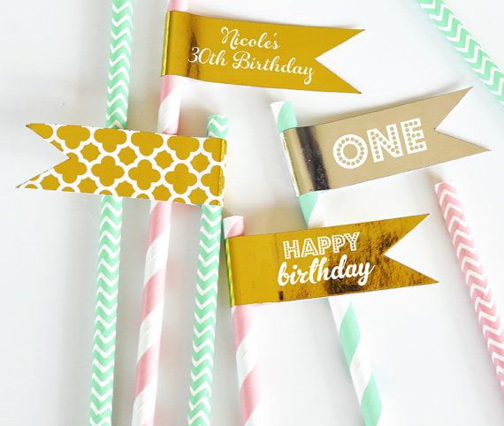 1st Birthday Straws Flags  Pink and Gold Straws Flags  by ModParty
