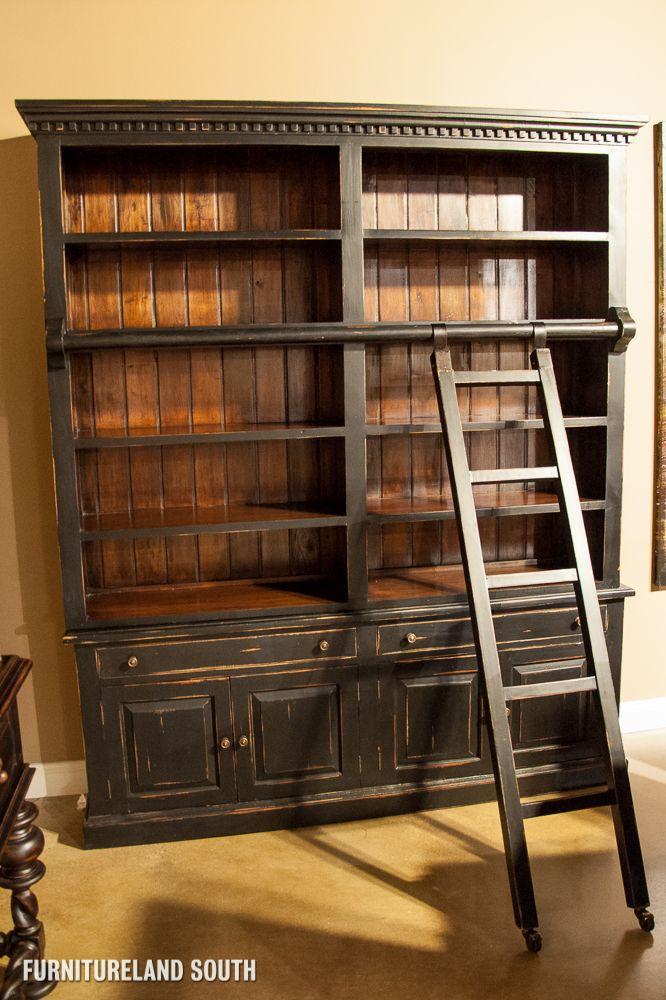 The Bramble Company - Weathered Black Edwardian Library Bookcase