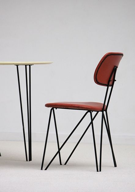 Cees Braakman; #SM 01 Enameled Metal Side Chair for UMS Pastoe, 1954.