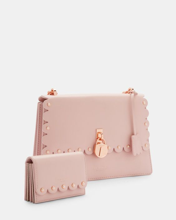 Scallop Leather Padlock Cross Body Bag Light Pink Bags Ted