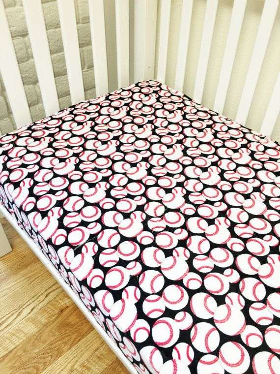 Boys crib/toddler minky sheet. Sports bedding, baseball, red and black. USA Made by Elonka Nichole