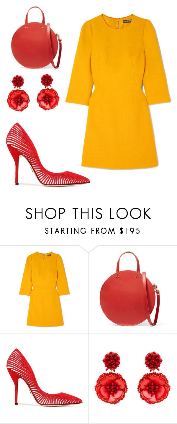 """""""Dolce Yellow"""" by sstieh on Polyvore featuring Dolce&Gabbana, Clare V., Paul Andrew and Mignonne Gavigan"""