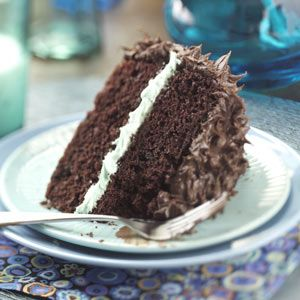 Makeover Chocolate Mint Layer Cake Recipe from Taste of Home
