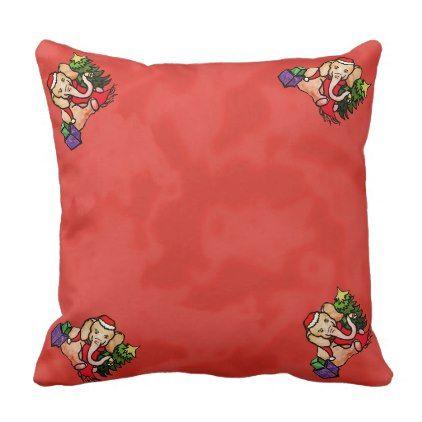 #Festive Red Cute Santa Cartoon Christmas Elephants Throw Pillow - #cute #gifts #cool #giftideas #custom