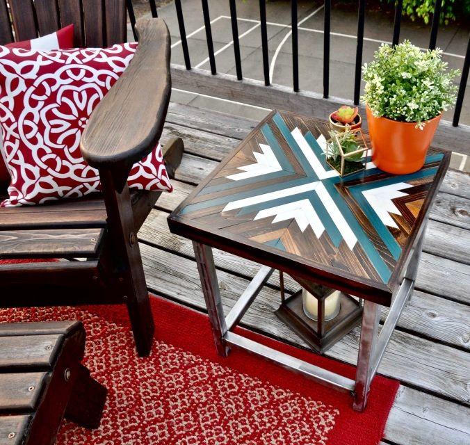 Geometric Inlay Wood Table