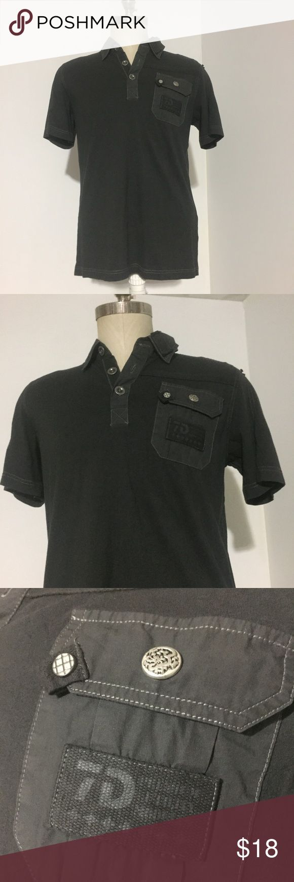 7 Diamonds Black Shirt Great shirt. Almost Cargo style. 7 diamonds brand in a size M. Made to look worn on the shoulders (see pic). 7 Diamonds Shirts Polos