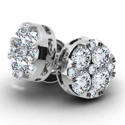 Two of a kind makes the finest pair, 1.25 catars round diamond cluster earring for women.