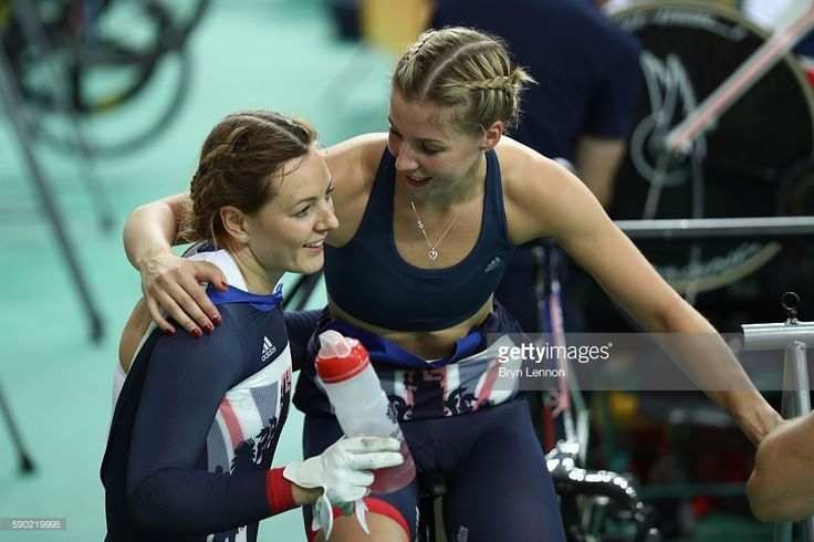Katy Marchant of Great Britain and Rebecca James of Great Britain after the…