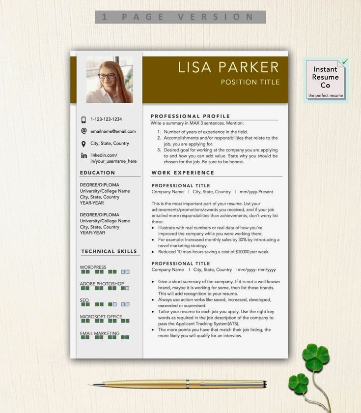 Resume Template With Headshot Photo Cover Letter 1 Page Word Resume Design Diy Cv Template Resume Template Resume Template Professional Resume Templates